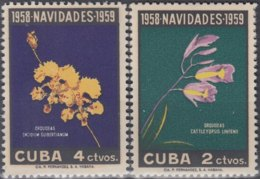 1958-374 CUBA REPUBLICA. 1958. MNH. Ed.777-78. NAVIDADES, ORQUIDEAS, ORCHILD, FLOWERS. - Cuba