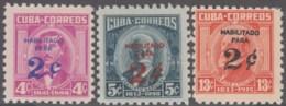 1960.270 CUBA. 1960. MNH. Ed.825-27. PATRIOTAS HABILITADOS PARA 2c. MIGUEL ALDAMA, CALIXTO GARCIA, CARLOS J. FINLAY. - Prephilately