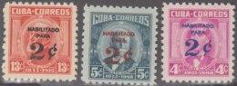 1960.276 CUBA. 1960. MH. Ed.825-27. PATRIOTAS HABILITADOS PARA 2c. MIGUEL ALDAMA, CALIXTO GARCIA, CARLOS J. FINLAY. - Prephilately
