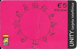 CARTE-PREPAYEE-ESPAGNE-5€-IDT-UNITY GRENAT Ex 05/2004-TBE     - - France