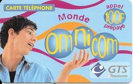 CARTE-PREPAYEE-100F-OMNICOM-MONDE-HOMME-18/03/2002-V° Lilas-GRATTEE-TBE - France