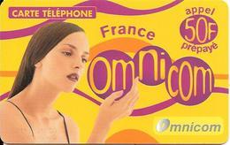 CARTE-PREPAYEE-OMNICOM-GTS-50F-FEMME-FRANCE-31/01/2003-Tirage 70000Ex-GRATTE-TBE - France