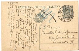 R981) V.E.III 1919 CARTOLINA POSTALE 15 CENT. LEONI MILL.23 SENZA FRANCOBOLLI AGGIUNTI - 1900-44 Vittorio Emanuele III