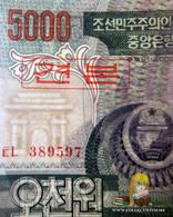 North Korea DPRK 5000 Won 2002 UNC Specimen. Front View Of Arch Of Triumph - Corea Del Nord