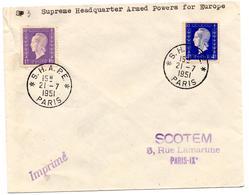 Lettre De SHAPE (21.07.1951) Pour Paris IX Imprimé Dulac - Postmark Collection (Covers)