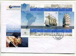 VELAS SUDAMERICA 2010. ARGENTINA SOBRE DIA DE EMISION ENVELOPE FDC - LILHU - Ships