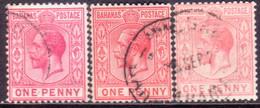 BAHAMAS 1912 SG #82,a,b 1d Used All Three Shades Wmk Mult.Crown CA - 1859-1963 Crown Colony