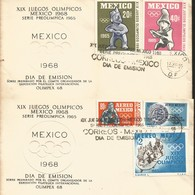 J) 1968 MEXICO, XIX OLYMPIC GAMES, MEXICO, PRE-OLIMPICAL SET, MULTIPLE STAMPS, SET OF 2 FDC - Messico