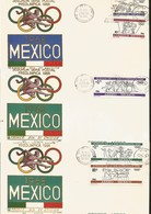 J) 1966 MEXICO, SECOND PRE-OLYMPIC POSTAL SET, MULTIPLE STAMPS, SET OF 3 FDC - Mexico