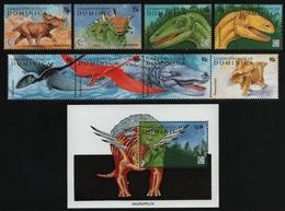 Dominica 1995 - Mi-Nr. 2016-2023 & Block 295 ** - MNH - Prähistorische Tiere - Dominica (1978-...)