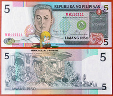Philippines 5 Piso 1985-94 UNC S/n 111111 Р-168b - Filippine