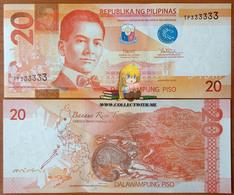 Philippines 20 Piso 2016 UNC S/n 333333 Р-206 - Filippine