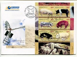 PORCINO, CERDOS PIGS PORCINE. ARGENTINA 2011 SOBRE DIA DE EMISION ENVELOPE BLOCK FEUILLET HOJA -LILHU - Granjas