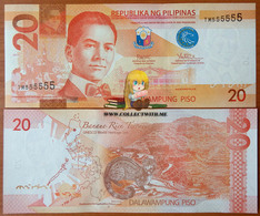 Philippines 20 Piso 2016 UNC S/n 555555 Р-206 - Filippine