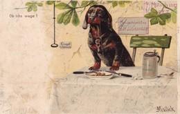 Dackel Teckel Dachshund  Chien Cane, Hunde Mailick Old Dog  Cpa. 1900 - Cani