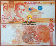 Philippines 20 Piso 2016 UNC S/n 111111 Р-206 - Filippine