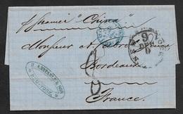 """1868 LAC - NEW YORK A BORDEAUX - C.à.d """" NEW YORK 9 """" (HUBB/WINTER #193) - Etats Unis Serv Am Calais En Bleu - Storia Postale"""