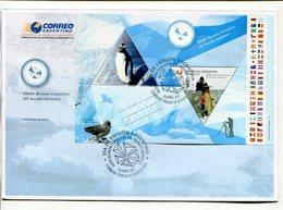 XXXIV REUNION CONSULTIVA DEL TRATADO ANTARTICO. ARGENTINA 2011 SOBRE DIA DE EMISION ENVELOPE BLOCK FEUILLET HOJA -LILHU - Tratado Antártico