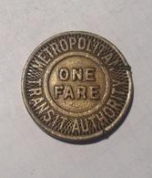 TOKEN GETTONE JETON TRANSIT STATI UNITI NEW YORK METROPOLITAN ONE FARE - Monétaires/De Nécessité