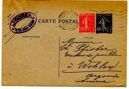 CP De Marseille Gare Semeuse (26.03.1932) Pour Wohlen Suisse Complément Affranchissement - Entiers Postaux
