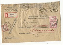 Taxe 30cts En Usage Mixte Avec Timbre De Recouvrement Sur Lettre Recommandée, Ré-expédiée (voir Description) - 1859-1955 Covers & Documents