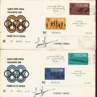 J) 1968 MEXICO, GAMES OF THE XIX OLYMPIAD, FOURTH PRE-OLIMPICAL POSTAL SERIES, BASQUETBALL, HORSE RIDING, KAYAK, VELA, M - Mexico