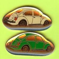 2 Pin's Volkswagen Coccinelle (Blanche Verte) - 2N02 - Volkswagen