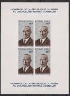 Niger - 1967 - Bloc Feuillet BF N°Yv. 5 - Adenauer - Non Dentelé / Imperf. - Neuf Luxe ** / MNH / Postfrisch - Célébrités
