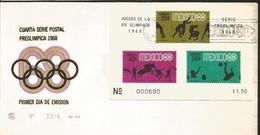 J) 1968 MEXICO, FOURTH POSTAL SERIES, PRE OLIMPIC, SOUVENIR SHEET, FDC - Mexico
