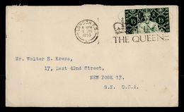 H 173, GB 1953 Mi# 276 Krönung Der Queen Elizabeth II., Brief Von London Nach New York - 1952-.... (Elisabeth II.)