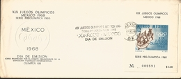 J) 1968 MEXICO, XIX OLYMPICAL GAMES, MEXICO, PRE OLIMPIC SET, SOUVENIR SHEET, FDC - Mexico