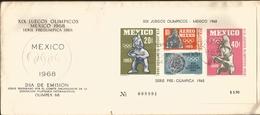 J) 1968 MEXICO, XIX OLYMPICAL GAMES, PRE OLIMPIC SET, SOUVENIR SHEET, FDC - Mexico
