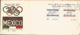 J) 1968 MEXICO, SECOND POSTAL SET, PRE OLIMPIC, SOUVENIR SHEET, FDC - Mexico