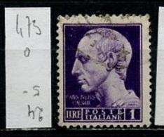 Italie - Italy - Italien 1945 Y&T N°473 - Michel N°677 (o) - 1l Jules César - 1944-46 Lieutenance & Humbert II