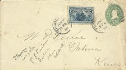 1892  1c Envelope With 1c Columbian Sent From Trinidad, CA To Salinas, Kansas - Ganzsachen