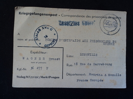 Colis CPA Stalag 317 XVIIIC Markt Pongau Luneville Accusé Reception Secretariat Prisonniers De Guerre STO Oflag 1944 - Historische Dokumente