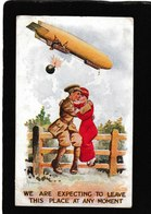 """UK-Couple Under Zeppelin""""Expecting To Leave""""J.Forder Art 1915 - Antique Postcard - Regno Unito"""