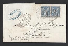 Sage 90 En Paire Sur Lettre Entête Escomptes De Recouvrement De Toulon /Arroux Vers Charolles 19/2/1885 - Postmark Collection (Covers)