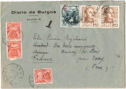 ESPAGNE ENVELOPPE TAXEE DIARO DE BURGOS RABAT LES TROIS SEIGNEURS Déroutée Vers AULNAY SOUS BOIS ESSAY - 1931-Aujourd'hui: II. République - ....Juan Carlos I