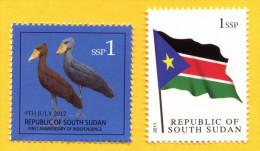 ZUID SOEDAN - South Sudan  1 SSP FLAG, 1st Set  & 1 SSP Shoe Billed Stork, 2nd Set - Zuid-Soedan