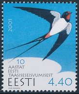 Mi 410 MNH ** 10 Years Of Regained Independence / Barn Swallow Hirundo Rustica National Bird Of Estonia - Estland