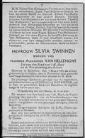 Doodsprentje Swinnen Silvia Wed Van Hellemont Alexander °1865 Kapellen Glabbeek +1943 Torbeyns Dekegel Empsen Brouwers - Todesanzeige