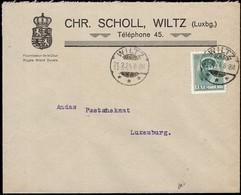 Lettre Commerciale Chr. Scholl Wiltz, Cachet Wiltz 21.2.1924, Michel: 128 - Luxemburg