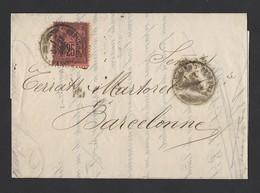 Sage 91 Sur Lettre Papier Fin De Bayonne Vers Barcelone 27/12/1878 - Postmark Collection (Covers)