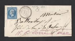 Napoléon 22 Sur Lettre GC 28 Tad Perlé Type 22 De Aillevilliers Vers Corre Verso Ambulant Nuit Bale A Paris 18/7/1863 - Postmark Collection (Covers)