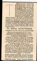 Doodsprentje Schotsmans Isidoor Echtg Janssens Hortentia °1876 Glabbeek-Zuurbemde +1949 Zuurbemde Van Brusselt Haenen Va - Décès