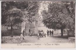 PINSAC (46) PRES SOUILLAC - LE LOT PITTORESQUE - PLACE DE L'EGLISE - ECOLIERS - AUTOMOBILE - CARTE RARE ? - 2 SCANS - - Autres Communes
