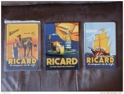 """Lot De 3 Plaques En Métal  """"RICARD"""". - Blechschilder (ab 1960)"""