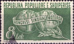 ALBANIA 1957 - CONGRESSO SINDACALE MONDIALE - 1 VALORE USATO - Albania