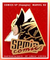 SUPER PIN'S CINEMA-BD : SP. COMICS Création Signé (c)MARVEL 1992 Signé Jep, émail Grand Feu Base Or, 2,3X2,5cm - Cinéma